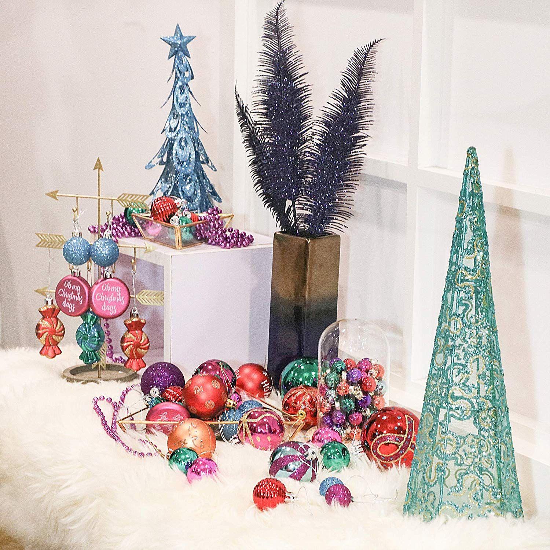 Aufhänger Für Christbaumkugeln.Valery Madelyn 48 Stücke 4cm Weihnachtskugeln Kunststoff Blau Grün