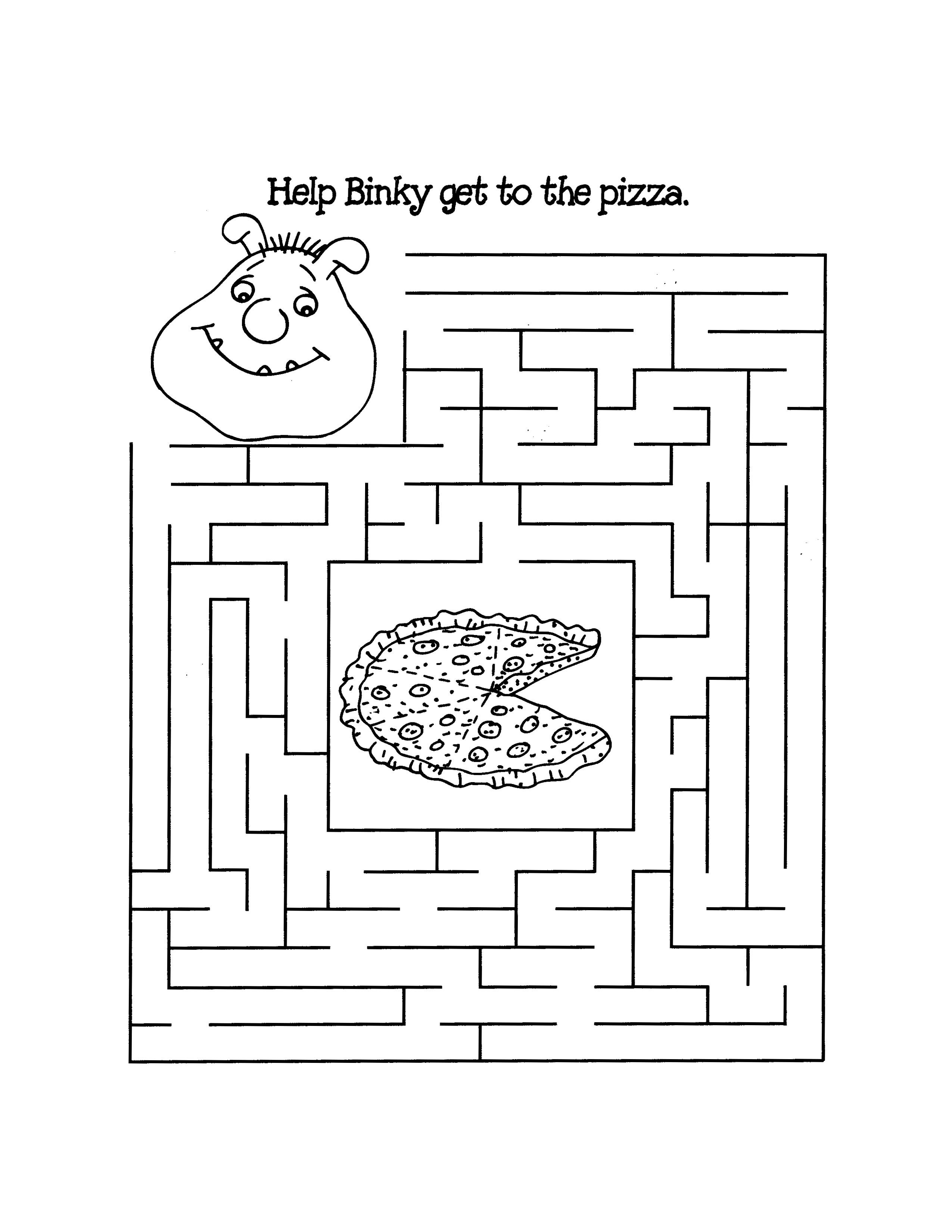 Pizza Maze For Kids Mazes For Kids Printable Mazes Puzzles For Kids [ 3300 x 2550 Pixel ]