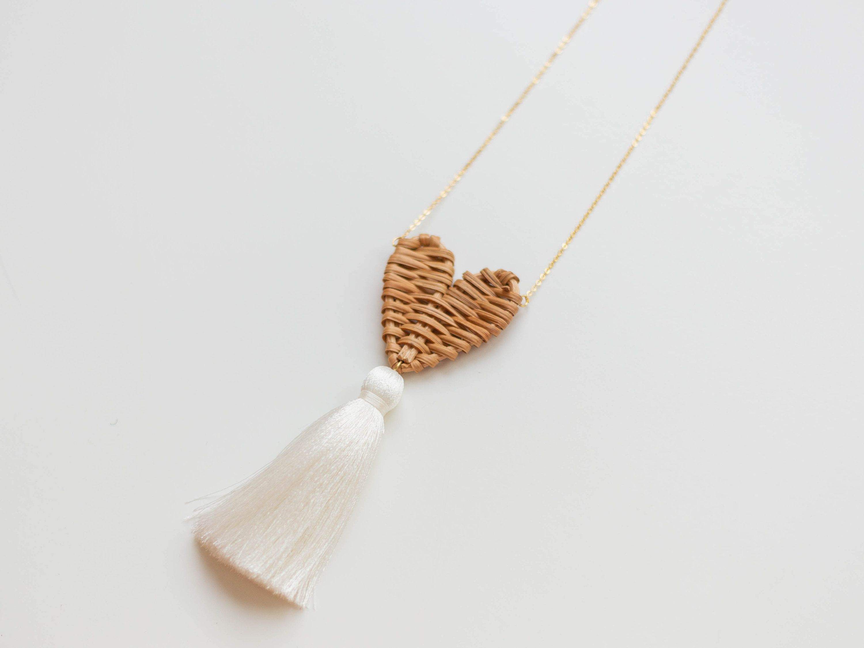 Rattan Necklace Heart Necklace Tassel Necklace Boho Necklace Mom Gift for Women Girlfriend Gift for Her Love Gift Straw Necklace /AMORE