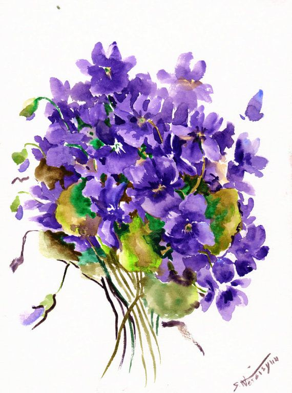 Violets original watercolor painting 12 X 9 in by ORIGINALONLY, $28.00