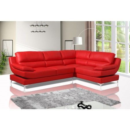 Monza Red Leather Corner Sofa Right Hand Dl Lounge Corner Sofa