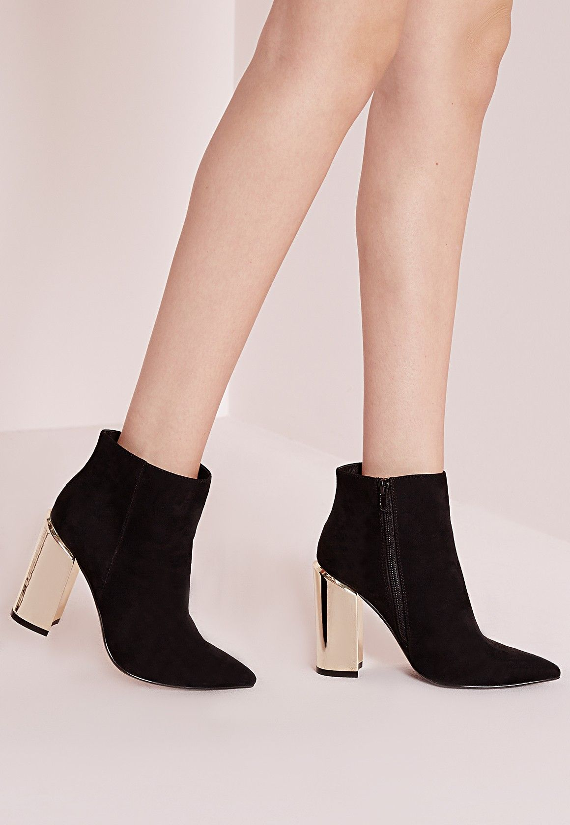c69ca23872df Missguided - gold plated block heel ankle boots black