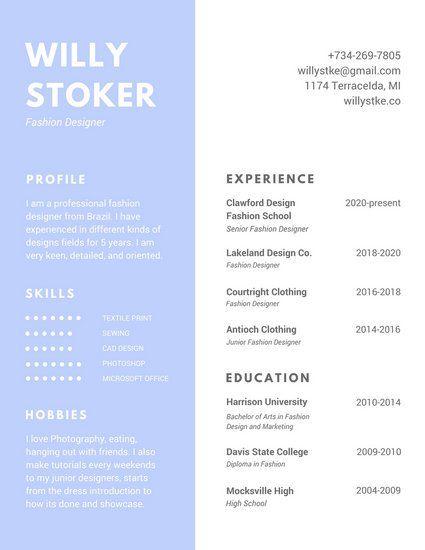 Skyblue Simple Fashion Resume Resume Template Resume templates