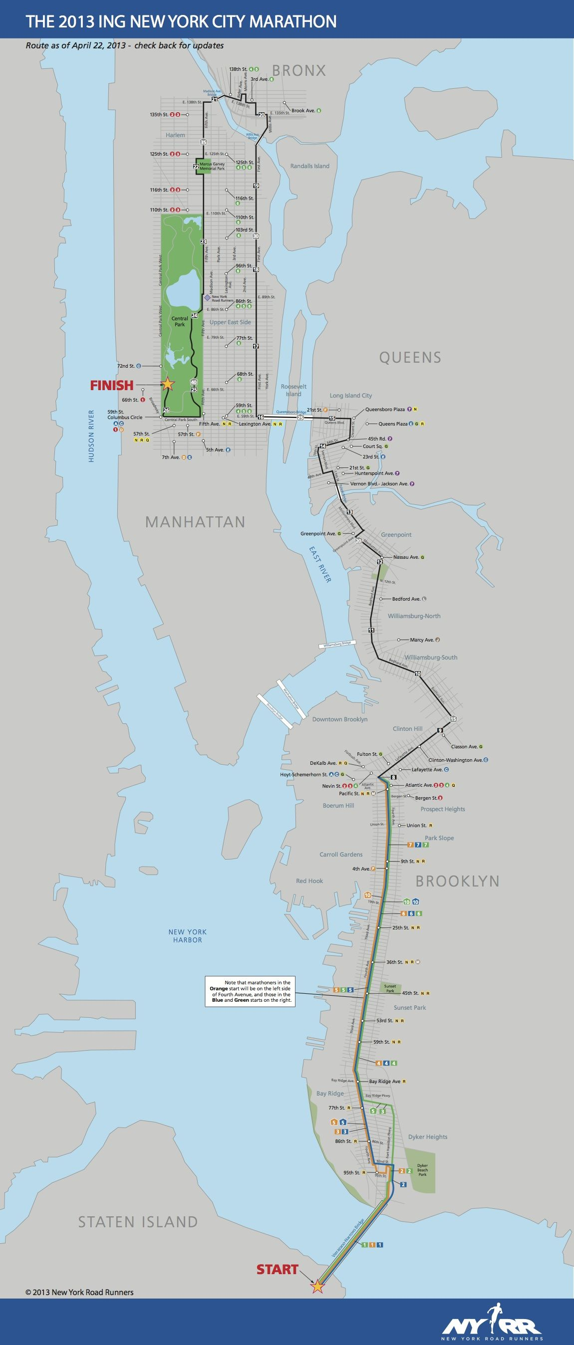 Course Map For Nyc Marathon 2013 Nyc Marathon Marathon New York Marathon