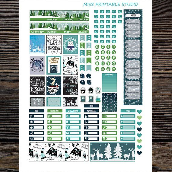 January Planner Stickers Printable, Winter, January monthly Mini