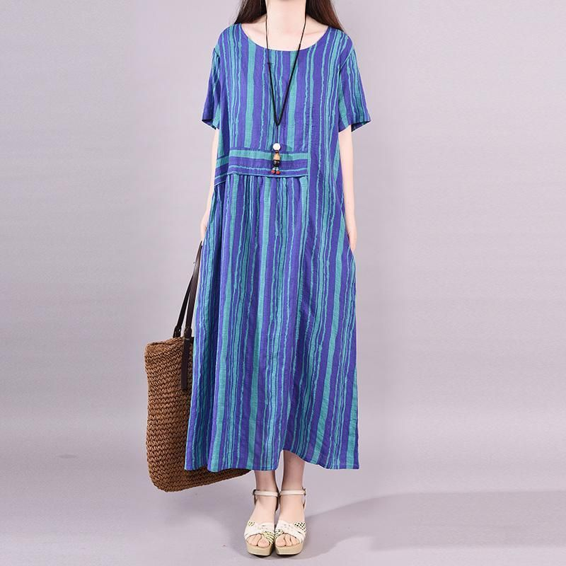f658b7d5f368 Summer Vertical Striped Short Sleeve Dress Casual Summer Dresses, Casual  Dresses For Women, Clothes