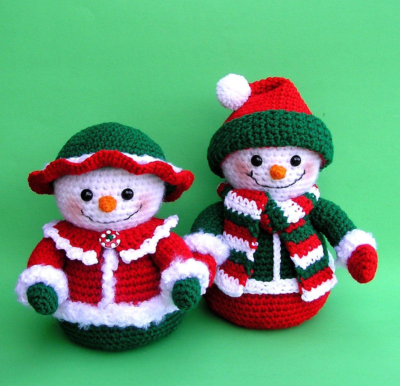 Easy Christmas Amigurumi : Mr and mrs winters snowmen pdf crochet pattern via