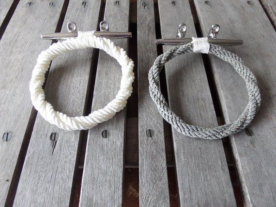 Photo of Nautical Decor~~Rope Towel Ring With Stainless Steel Cleat Nautical Bathroom or Kitchen Fixture Marine Beach