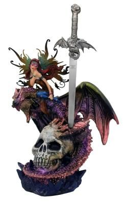8inch Dragon, Fairy, and Skull Statue with Letter Opener Free ship