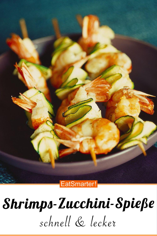 Shrimps-Spieße mit Zucchini