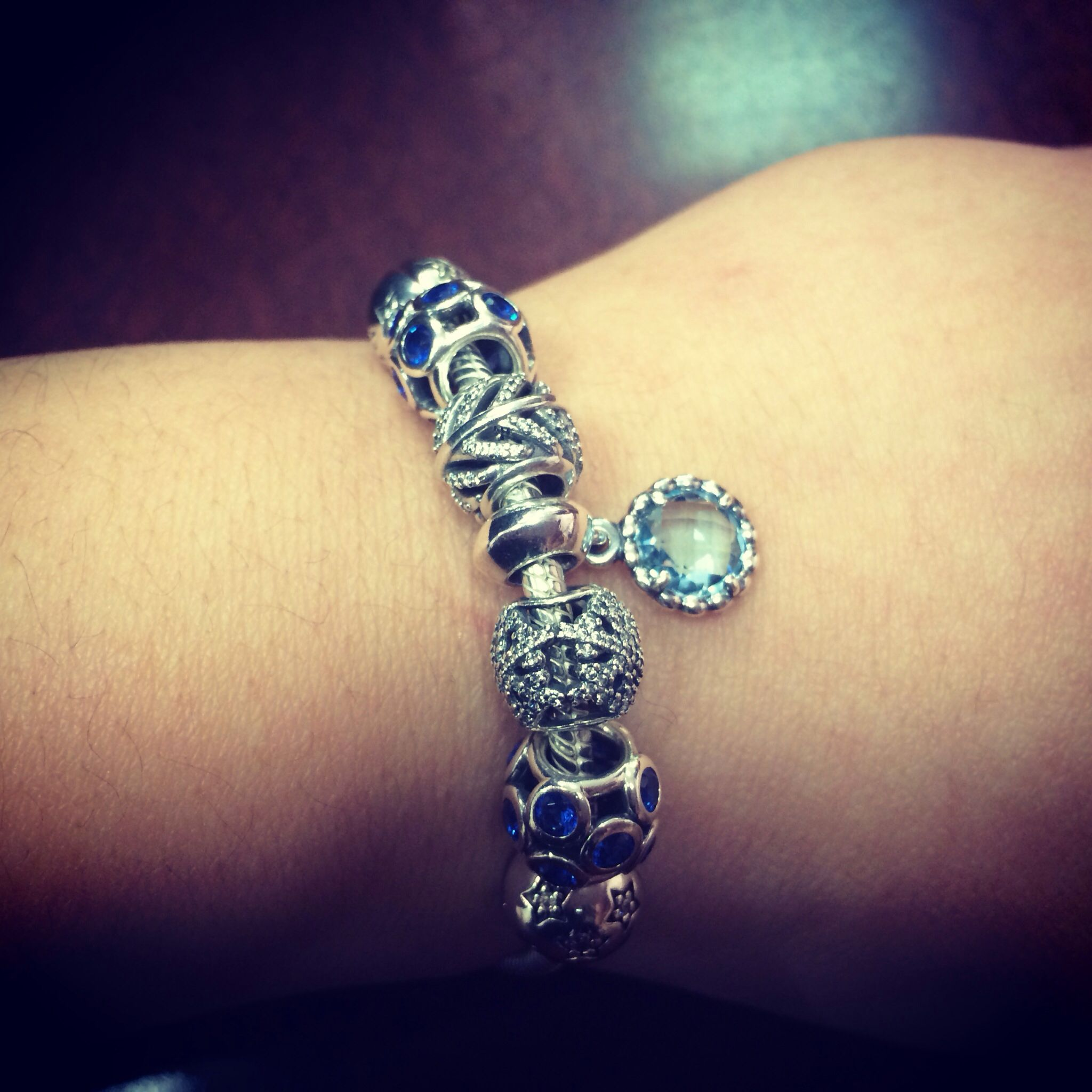 My #pandora Bracelet 'twinkle' Clips With 'blue Whimsical Lights,' '