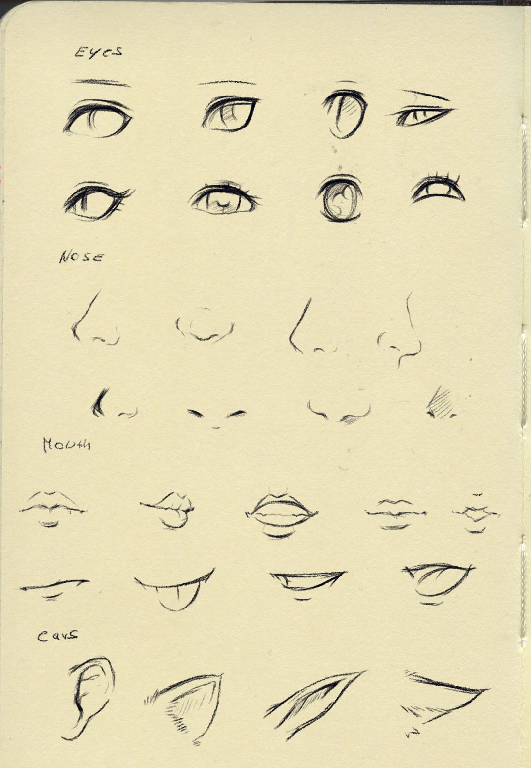 Reference (eyes,nose,mouth,ear) by on