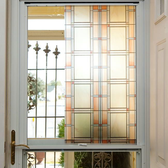 Arts And Crafts Stained Glass Film On Storm Door Window Treatments