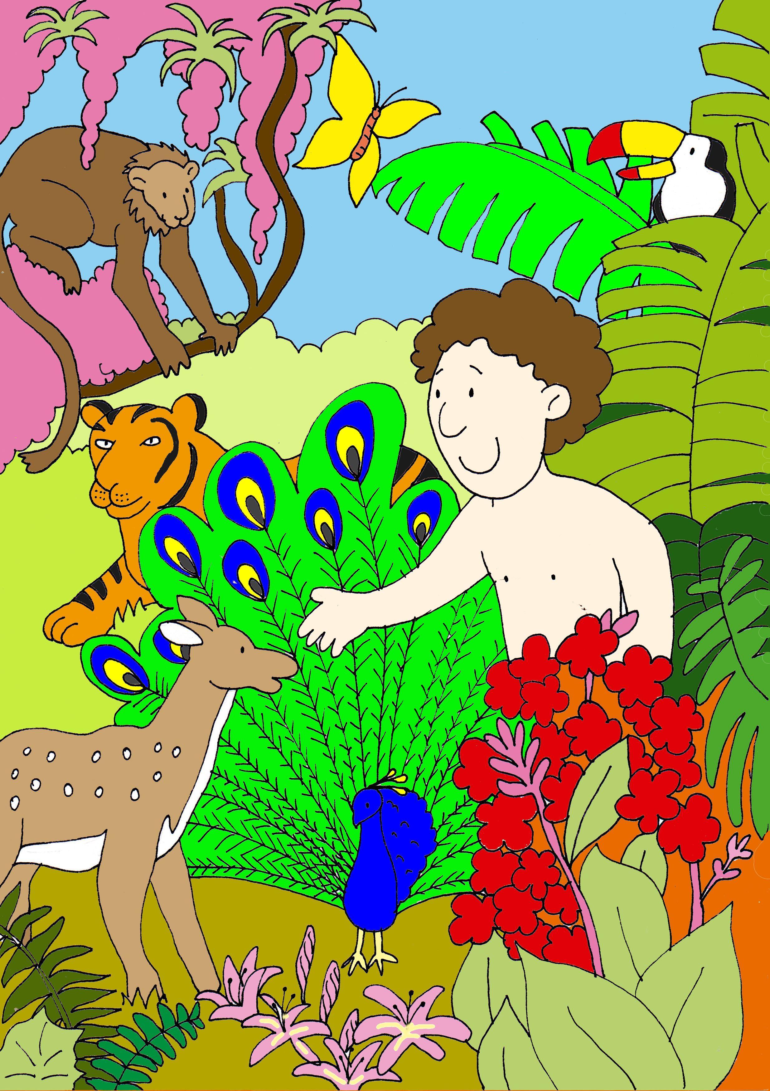 Adán en el huerto del Edén | dibujos biblicos | Pinterest | El ...