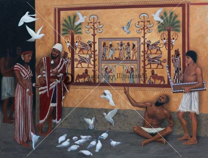 Royal Palace wall painting in the city of Mari, Mesopotamia, 18th Century BC