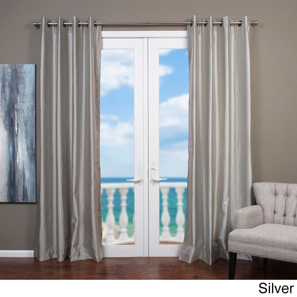 Mia Faux Silk Curtain Panel 108 Silver Size 54 X