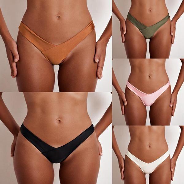 vertvie 2018 Black V Shape Sexy Brazilian Bikini Bottom Women ...