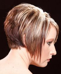 short straight dark copper blonde hairstyle  short wedge