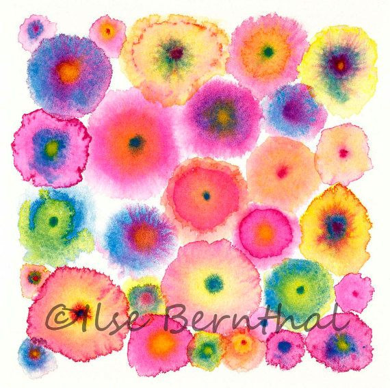 Pink Large Abstract Print Canvas  Circles  Flowers