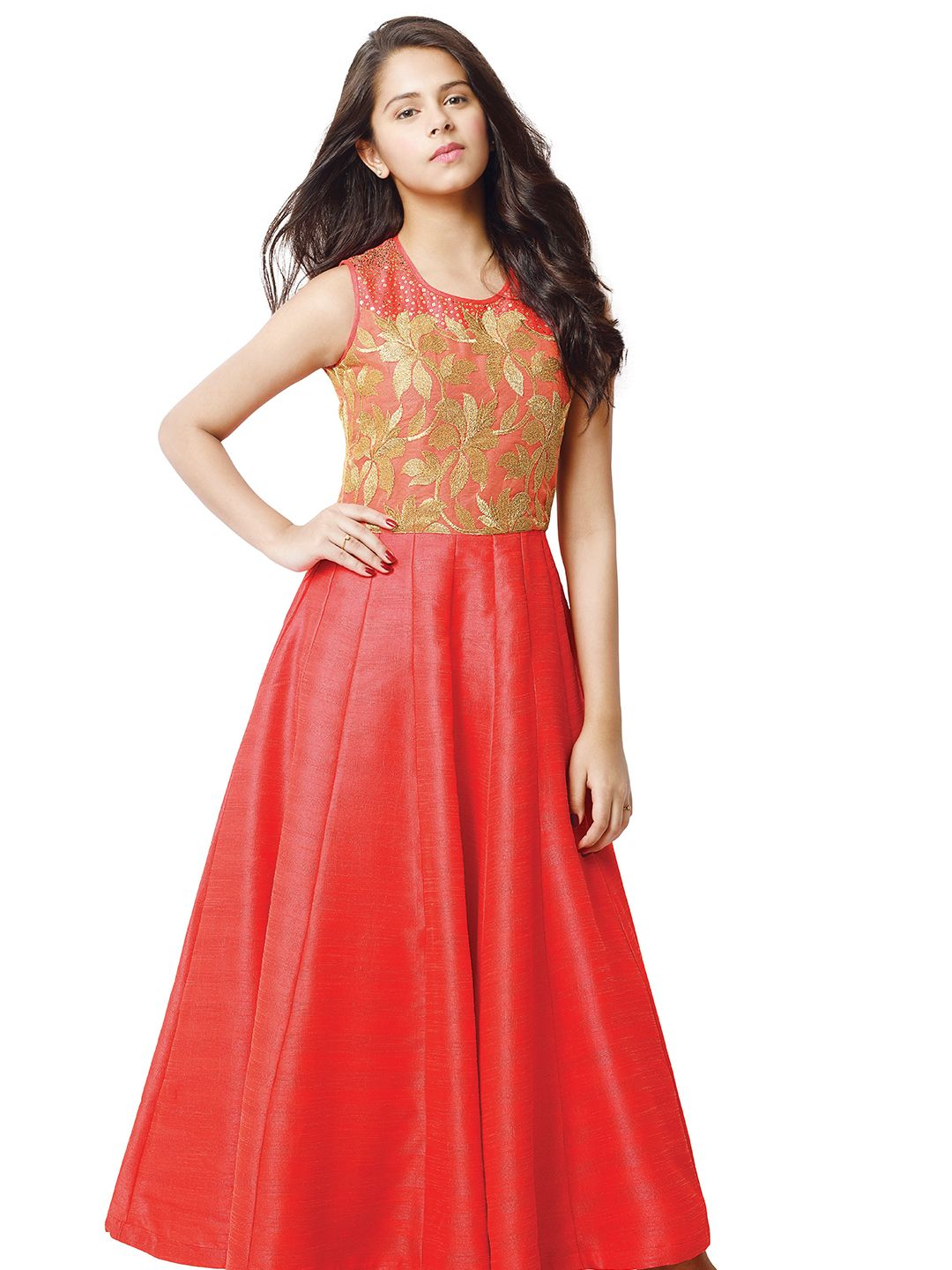 G3 Exclusive Red Party Wear Raw Silk Girls Gown | Girls Gown G3 ...