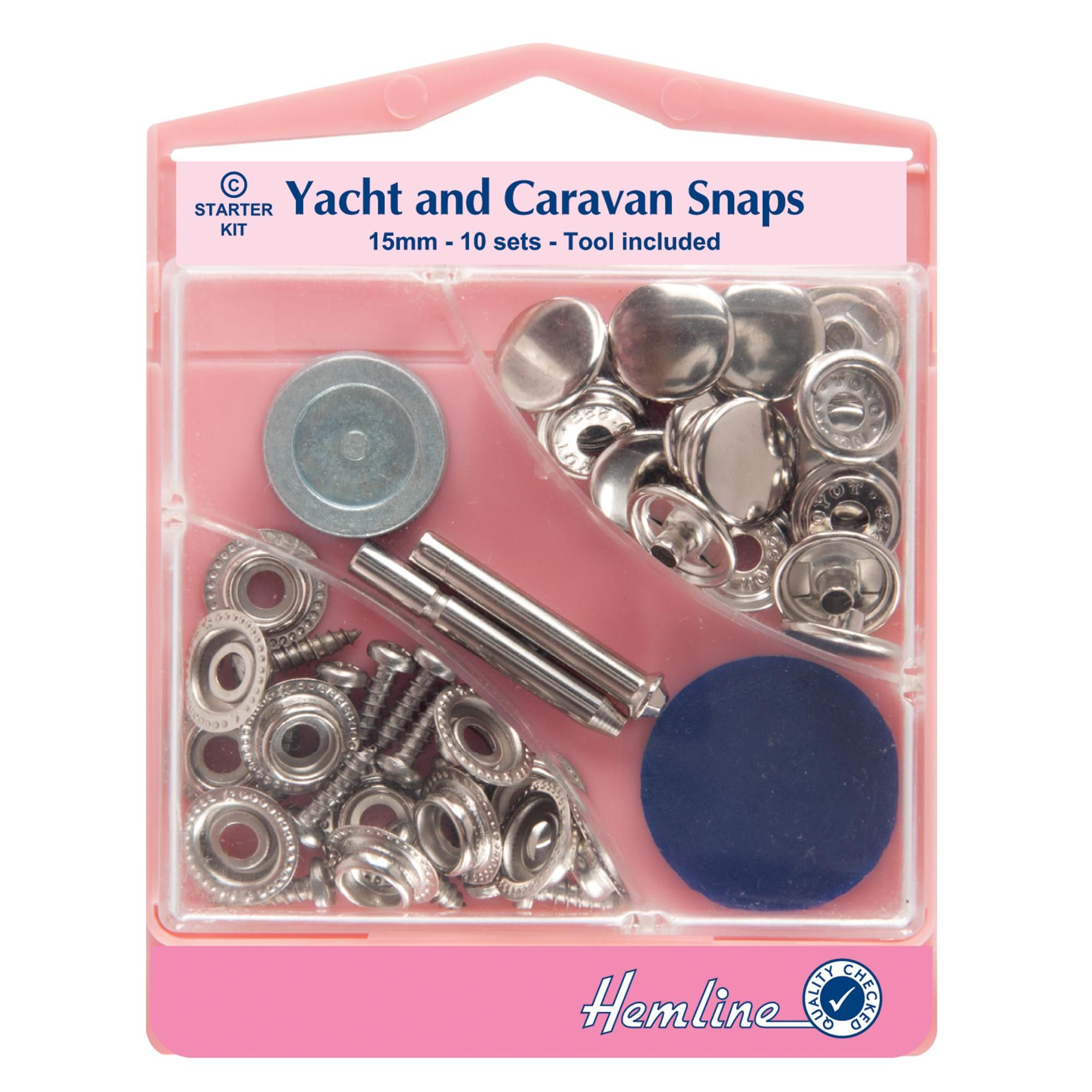 Supplied with 10 sets of snaps and tools at 15mm each, this sturdy pack of snaps is constructed from metal material.