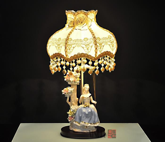 Modern Cloth Lampshade Table Lamp Ceramic Desk Light Bedroom Swing Girl Decorative Bedside Lamps Lamp Table Lamp Desk Light