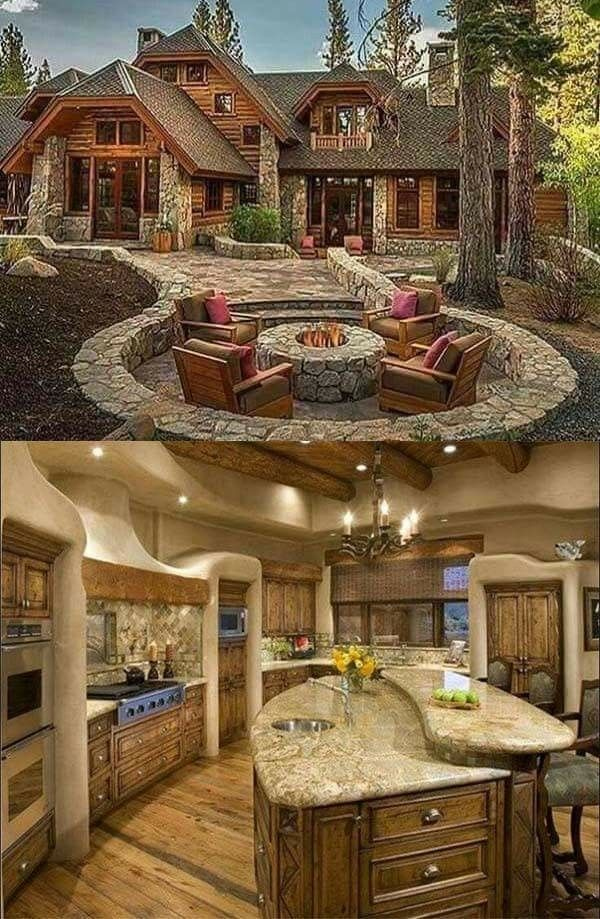 Log cabin stone work outdoor fire pit kitchen marble granite