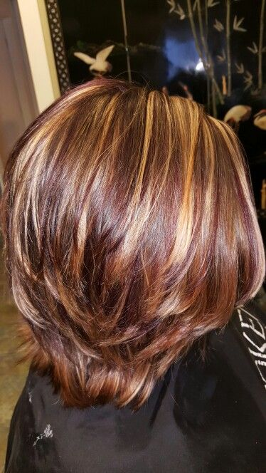 Highlights And Violet Lowlights Hairbyheatherhaynes Brunette Hair Color Hair Highlights And Lowlights Short Brown Hair