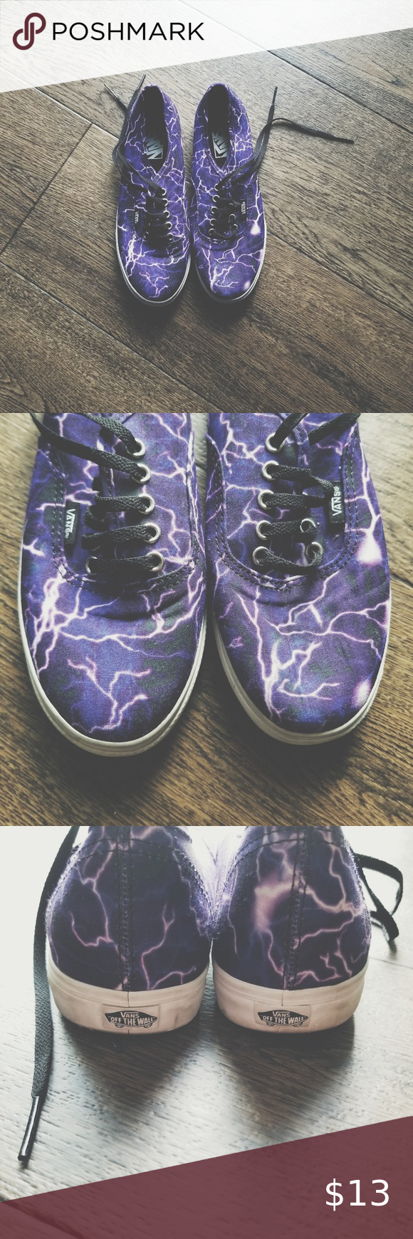 58c58ec866 Vans Lightning Lo Pro Purple white lightning printed Vans lo pro shoes. The  lo pro style is my favorite from Vans