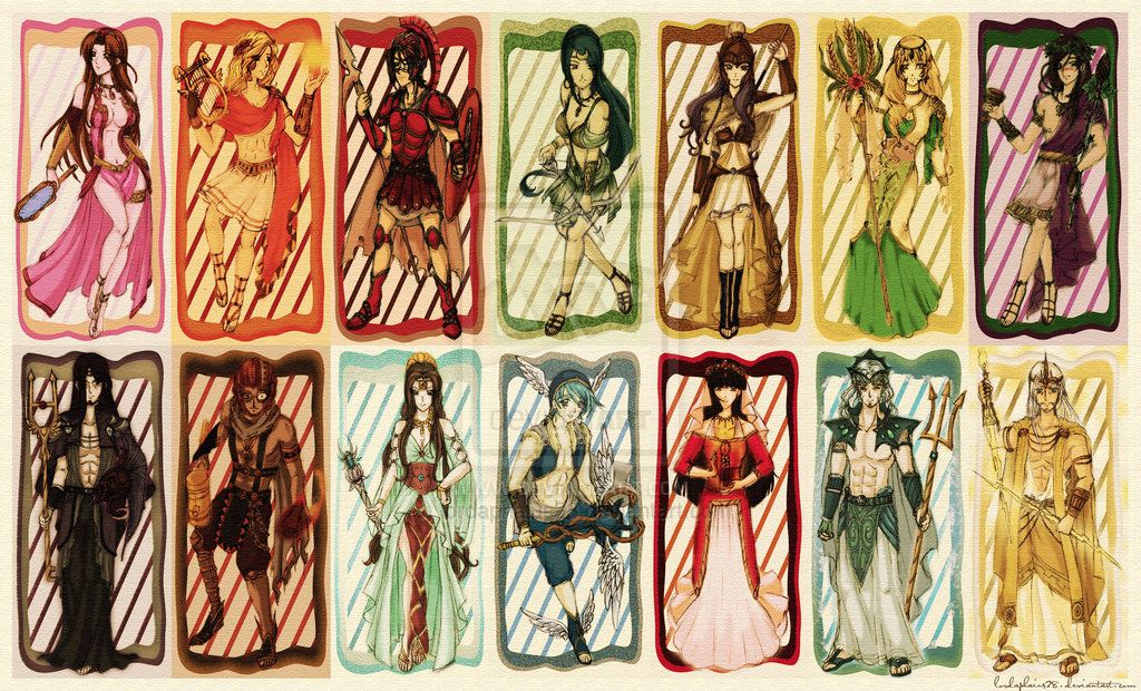 Aphrodite, Apollo, Athena, Artemis, Ares, Hera, Dionysus
