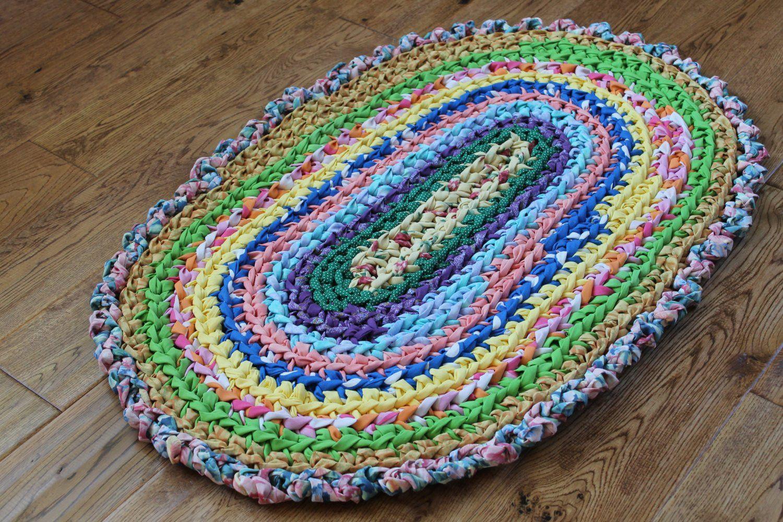 Crochet Oval Rug Elegant Rag Rug Rainbow 22 X 33 Crocheted Oval Rag Rug Of Charming 49 Images Crochet Oval Rug In 2020 Crochet Rag Rug Rag Rug Oval Rugs