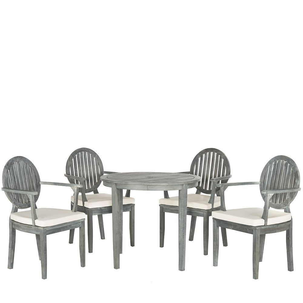 Safavieh Chino Indoor Outdoor Dining Table Amp Chair 5 Piece Set Grey Wood Patio Patio