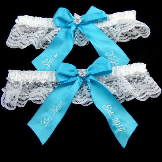 Personalized Wedding Garter, Turquoise Bridal Garter, You