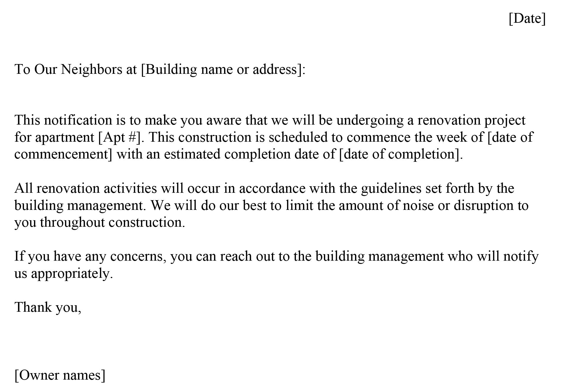 renovation letters to neighbors 3 reallife examples sample resume for computer science fresh graduate format in ms word career objective security guard