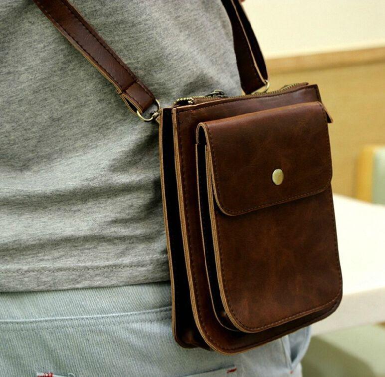 Stacy Bag Hot High Quality Men Pu Leather Handbag Male Small Vintage Messenger Man Mini Cross Body Shoulder 9 00