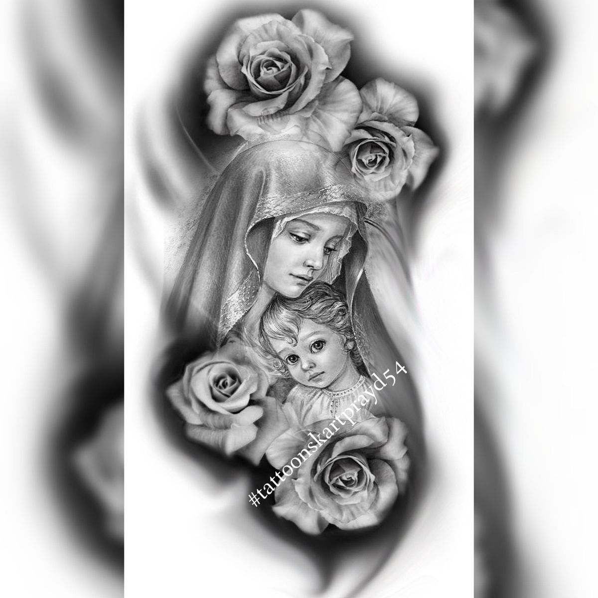Дева Мария эскиз TATTOO STUDIO Новосибирск (tattoonsk_art