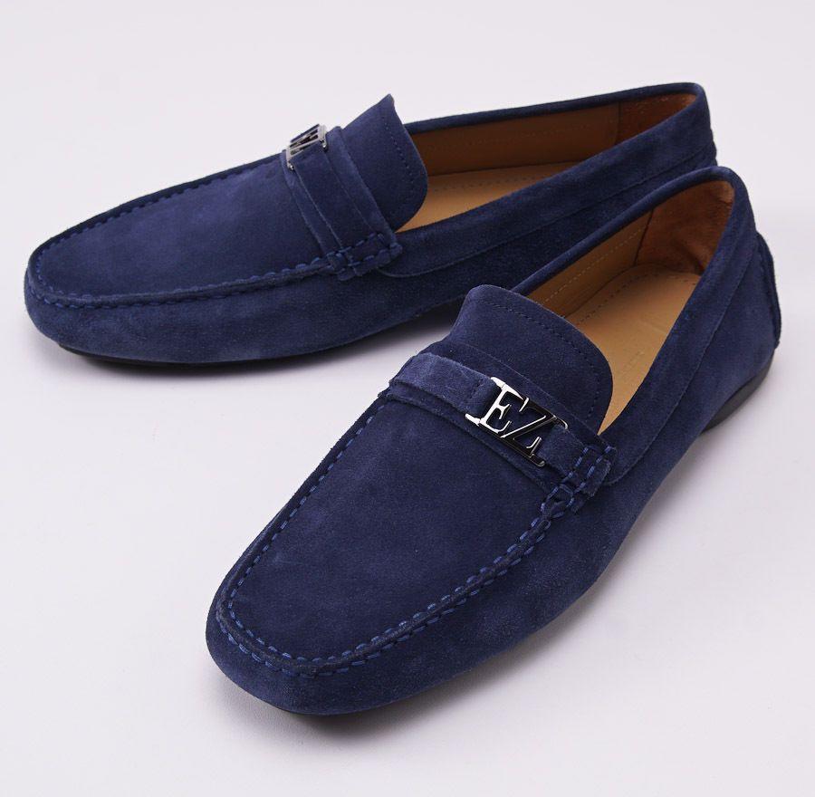 d2e57d37cd7 ERMENEGILDO ZEGNA Navy Blue Suede Driving Loafers US 9 D Shoes ...