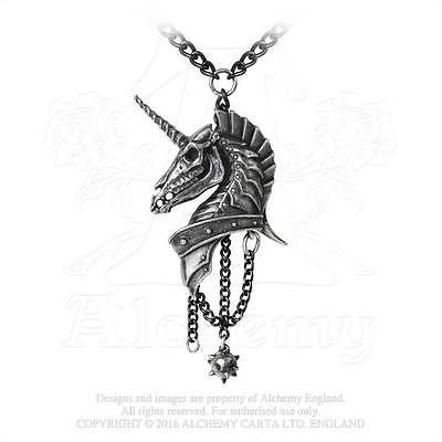 Alchemy - Geistalon - Armoured Unicorn Pewter Pendant