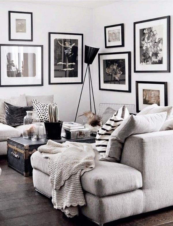 Weiße Wand Und Bilder In Schwarz Und Weiß Bilder