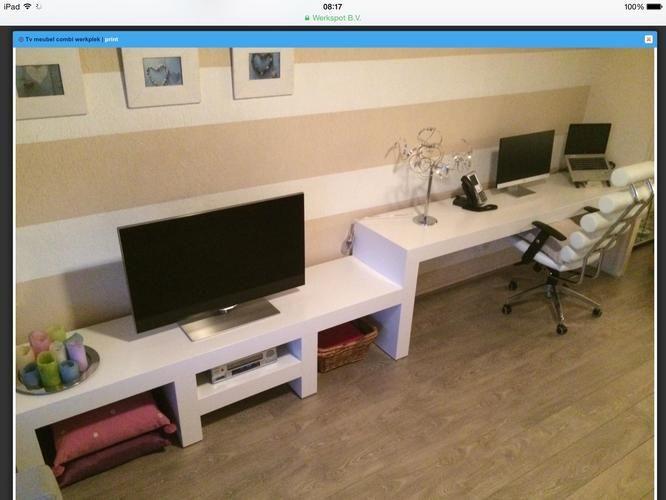 bureau met tv meubel - Google zoeken | Inrichting woonkamer ...