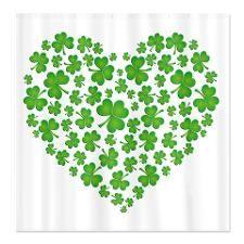 Irish Heart Shamrock Pictures Shower Curtains