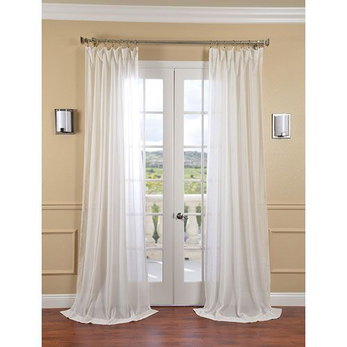 Gardenia Faux Linen Sheer Single Panel Curtain Panel 50 X 120