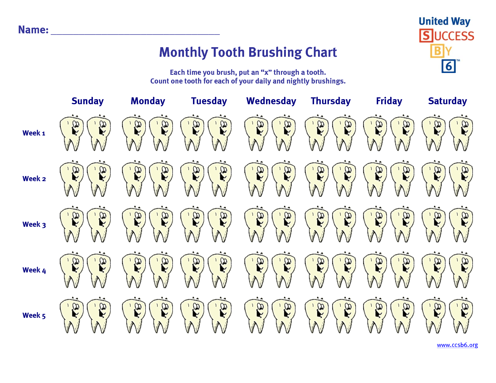 Monthly Tooth Brushing Chart Tooth brushing chart, First