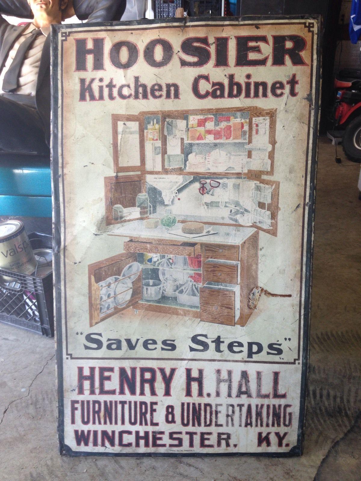 Large Antique Original Hoosier Kitchen Cabinet Metal Tin
