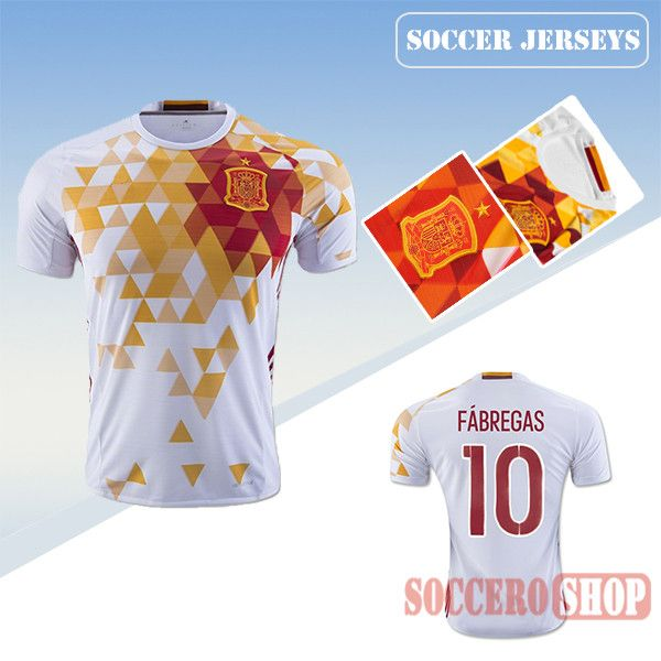 6b1238f1a Latest Best Spain White Yellow 2016 2017 Away Soccer Jersey With Fabregas 10  Printing