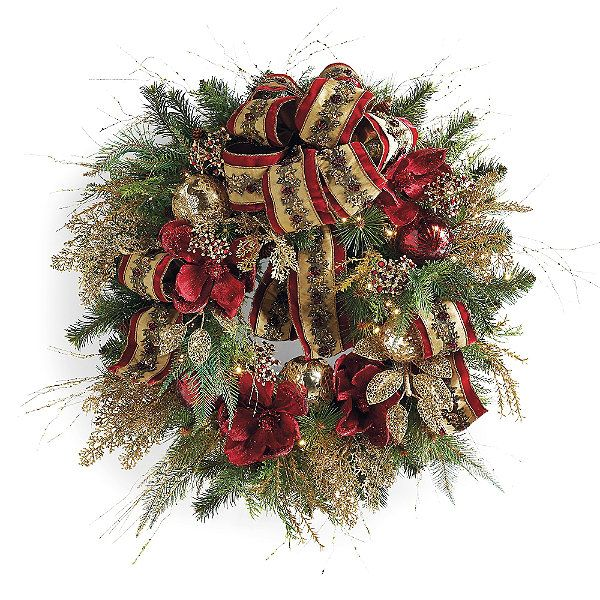 Plaza Pre-decorated LED Cordless Wreath | Frontgate ...