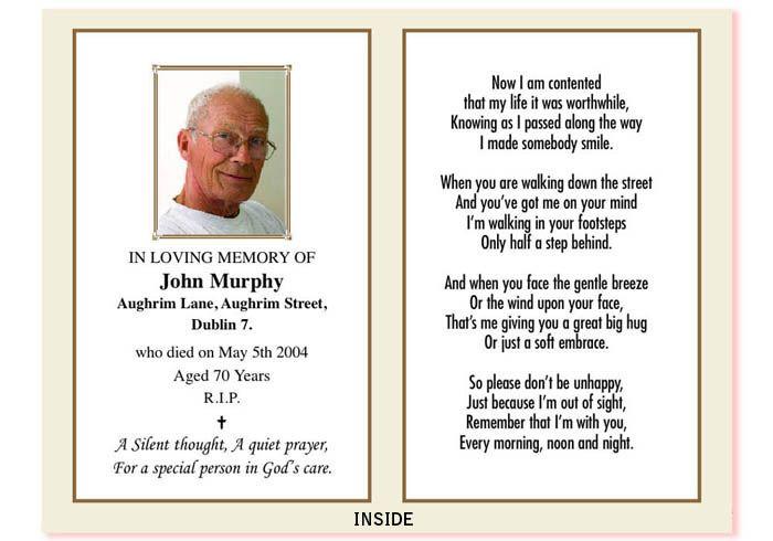 remembrance card   Bolton Print.ie Ireland , In Memoriam ...
