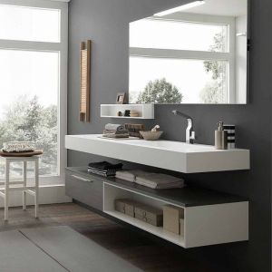 Mobile arredo bagno con top in Tecnoril con vasca integrata e base ...