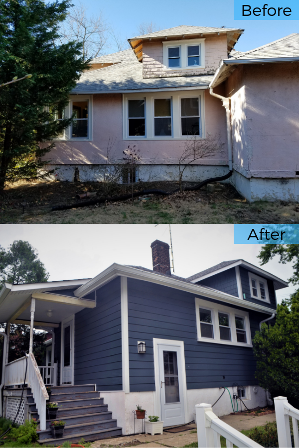 Before And After Evening Blue James Hardie Fiber Cement Plank And Shake Siding Installation In South Amboy Nj Installing Siding Fiber Cement Siding Installation Shake Siding