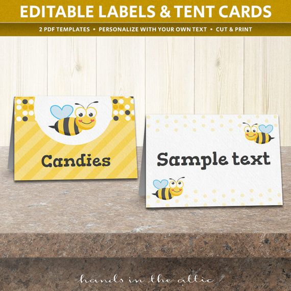 editable labels buffet tent cards label templates bumblebee party